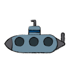 submarine with periscope underwater boat vector image