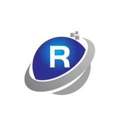 Technology motion synergy letter r vector