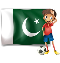 The Pakistan flag and the football player vector image vector image