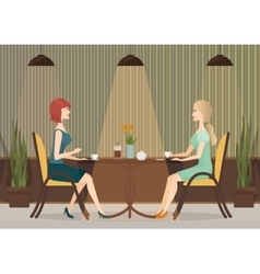 Two young women drinking coffee in the cafe vector