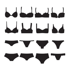 Underwear set icons Bra different styles and vector image