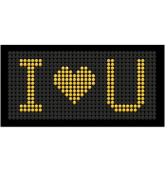 Yellow button board words i love you vector