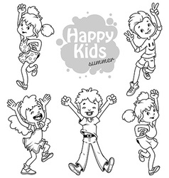 Very happy children on a white background vector image