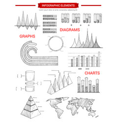 Infographic diagram charts sketch elements vector