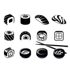 Monochrome japanese food icons set vector