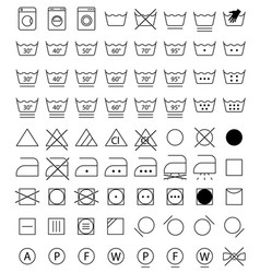 laundry icons washing symbols vector image