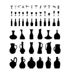 bottles glasses and corkscrew vector image