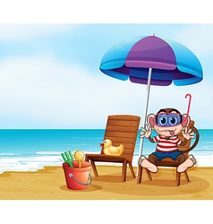 A monkey at the beach with toys vector image