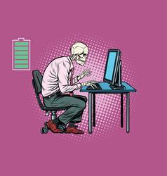 Skeleton worker working on computer vector