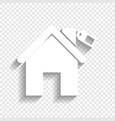 Home silhouette with tag white icon with vector