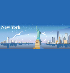 new york silhouette with seagulls vector image