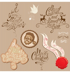 Christmas and new year vintage decoration vector