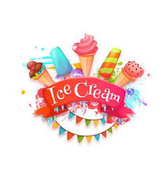Ice cream banner with red ribbon vector