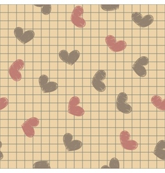 Seamless with ink painted hearts on a sheet of vector