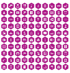 100 hardware icons hexagon violet vector
