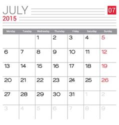 2015 July calendar page vector image vector image