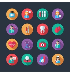 Medical icons and doctor avatars set vector image