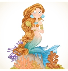 Lovely mermaid combing her long hair vector