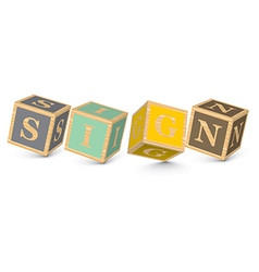 Word sign written with alphabet blocks vector