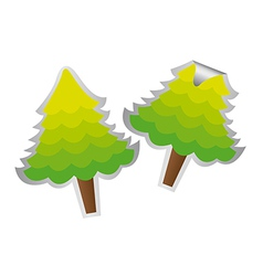 Two trees stickers isolated over white background vector