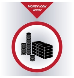 Money icon with paper banknotes and coins vector image