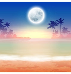 Beach with palm trees and full moon at night vector image