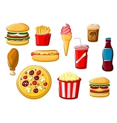 Fast food and beverage icons vector