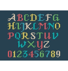 Vintage knitted alphabet vector image
