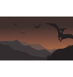 Silhouette of pterodactyl fly at the night vector