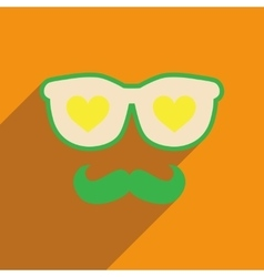Flat web icon with long shadow glasses mustache vector
