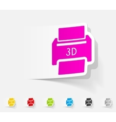 Realistic design element three d printer vector