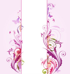 Abstract vertical floral banner vector