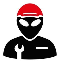 Alien serviceman flat icon vector