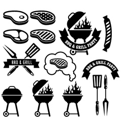 Barbecue party emblem - bbq and grill vector image