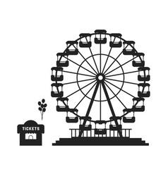 Black ferris wheel with cash desk vector