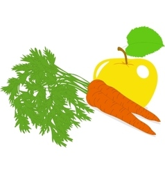 Carrot and yellow apple on a vector