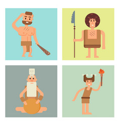 caveman primitive stone age cards cartoon vector image