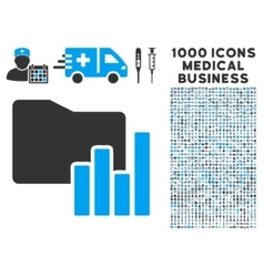 Charts Folder Icon with 1000 Medical Business vector image vector image