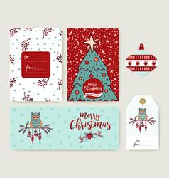 christmas tree cartoon holiday greeting card set vector image