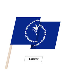 Chuuk ribbon waving flag isolated on white vector