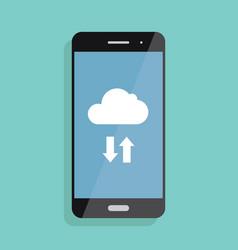 cloud storage cloud icon on smartphone screen vector image vector image
