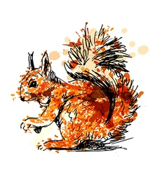 Colored Hand drawing squirrel vector image