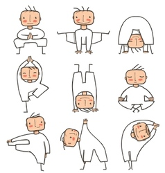 Comic yoga man collection vector