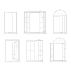Different types of windows Realistic decorative vector image