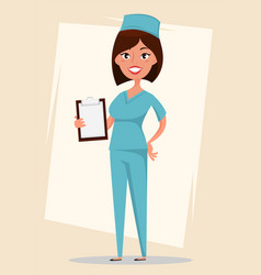 Doctor medical worker in blue uniform holding vector