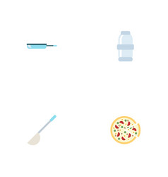 Flat icons spice pepperoni skillet and other vector