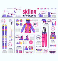 flat style skiing winter sport infographic data vector image vector image