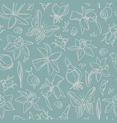 flowers and bugs seamless pattern vector image