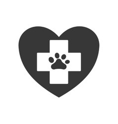 Foot print heart love pet animal icon vector