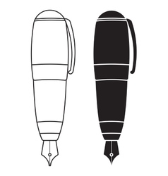 Fountain pen Black and white outline icon vector image
